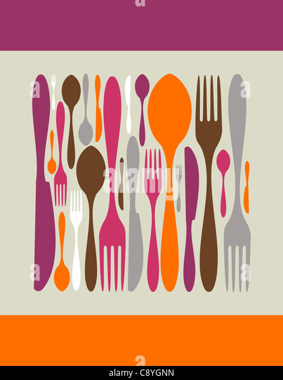 Square made by cutlery icons. Fork, knife and spoon silhouettes on diferent sizes and colors. Vector avaliable. - Stock-Bilder