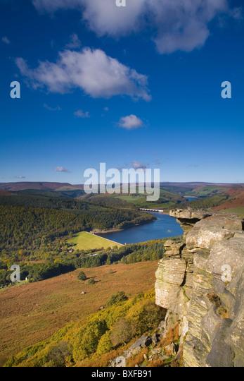 Lady Bowers Reservoir from Bamford Edge, Peak District National Park, Derbyshire, England, UK - Stock Image
