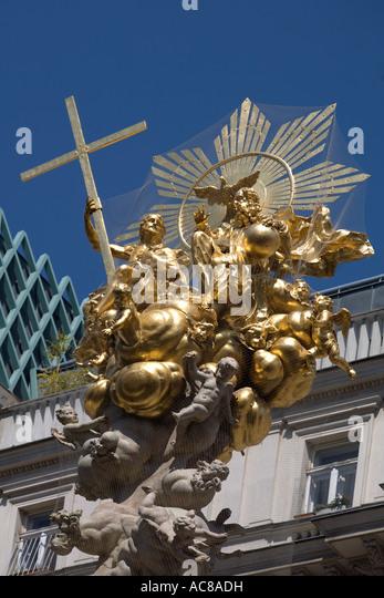 Vienna pest column golden top sculpture - Stock Image
