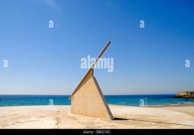 Sun dial, beach, sea, Tabarca, Isla de Tabarca, Alicante, Costa Blanca, Spain, Europe - Stock Image