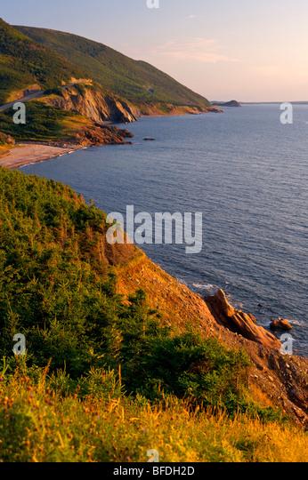 View of the Cabot Trail  towards Cheticamp Island, Cape Breton Highlands National Park,  Cape Breton, Nova Scotia, - Stock Image