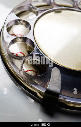 Dial of rotary telephone, close-up - Stock Image