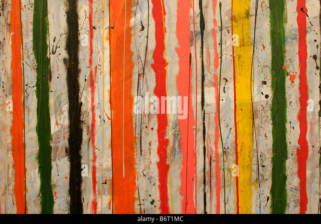 Abstract expressionist painting concentrating on colour and lines - Stock Image