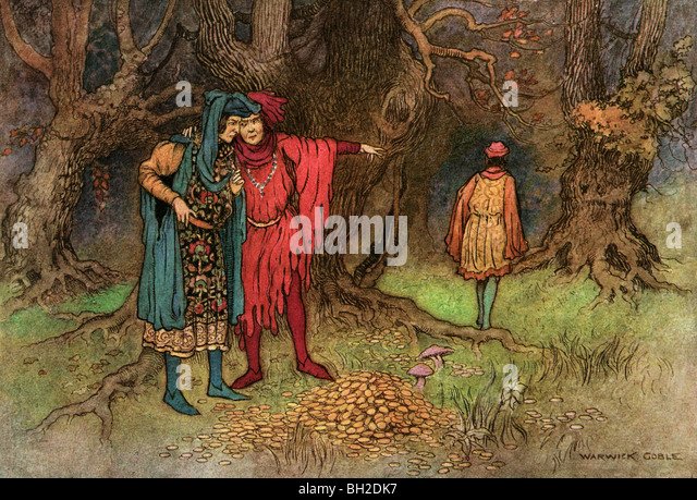 The Three Revellers and the Gold, by Warwick Goble, from The Complete Poetical Works of Geoffrey Chaucer, 1912. - Stock Image