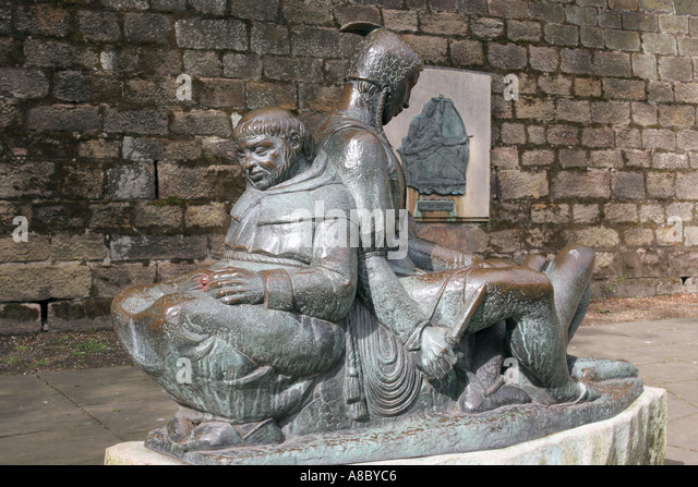 Friar Tuck Statue Nottingham - statue below Nottingham Castle - Stock Image