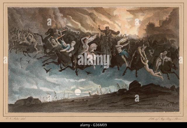 Asgardsreien, Norwegian myth of the Wild  Hunt        Date: 1872 - Stock Image