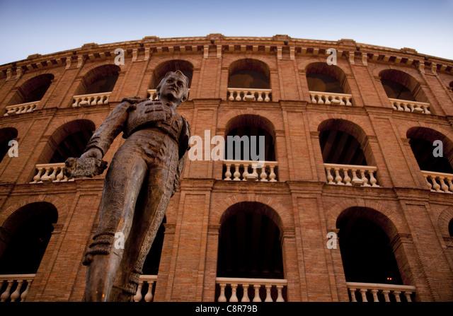 Plaza de Toros, Torero sculpture in front of arena, Valencia, Spain - Stock Image