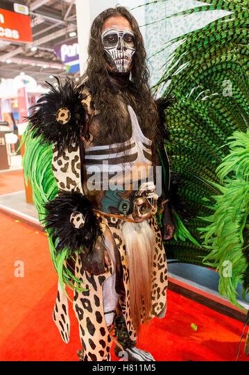 Mayan Warrior At The London World Travel Market 2016 - Stock-Bilder