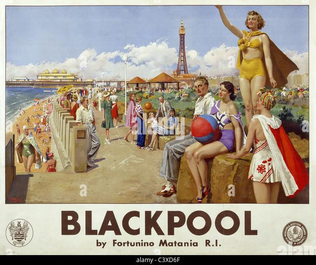 Blackpool, by Fortunino Matania. England, early 20th century - Stock-Bilder