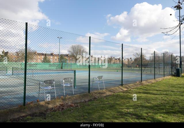 Empty tennis court, Ealing London UK - Stock Image