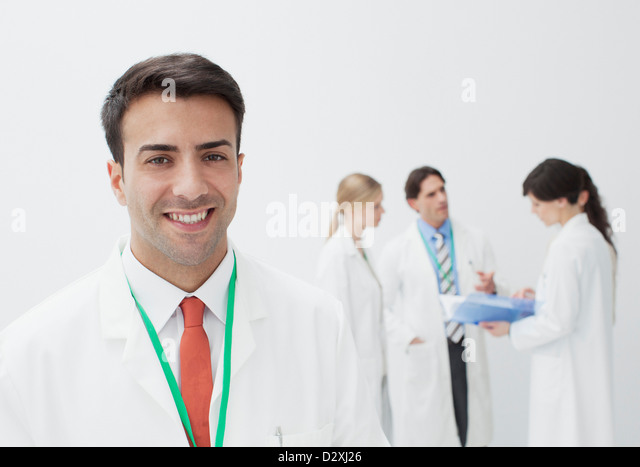 Portrait of serious doctor - Stock Image