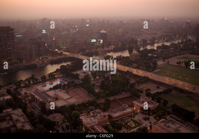 Skyline and the Nile river at sunset in Cairo, Egypt, August 9, 2011. - Stock Image