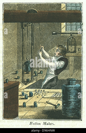 Button Maker: Stamping out metal buttons. Blank held in place and weight holding die for pattern being work was - Stock-Bilder