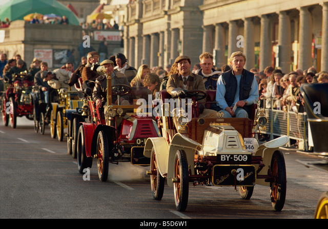 The finish of the London to Brighton run for vintage motor cars, Brighton, Sussex, England, Europe - Stock Image