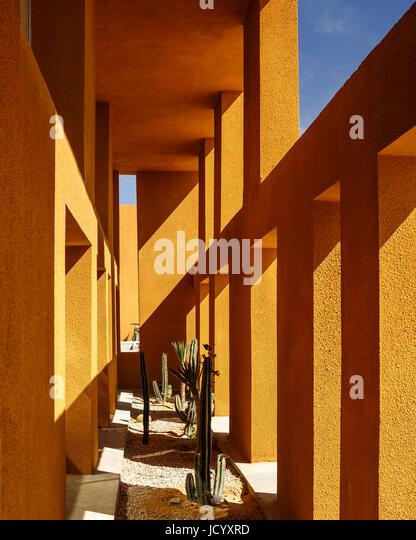 Cactus garden under colonnade. Laayoune Technology School, Laayoune, Morocco. Architect: Saad El Kabbaj, Driss Kettani, - Stock-Bilder