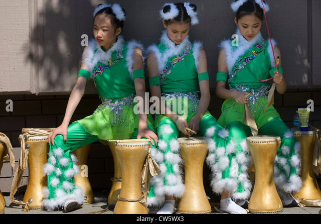 Girls at Italian Heritage Parade, part of Fleet Week, San Francisco, California. - Stock Image