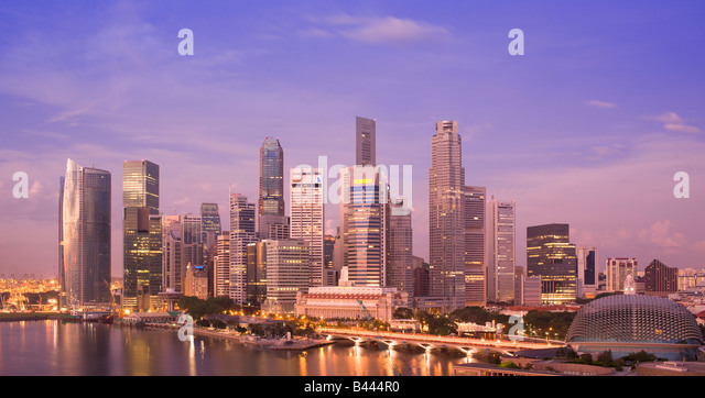 Asia Singapore Skyline viewed at dawn - Stock Image