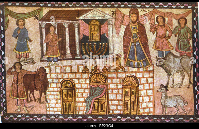 TABERNACLE & ITS PRIESTS. WALL PAINTING FROM DURA EUROPOS ONE OF THE EARLYEST KNOWN SYNAGOGUE DATED C. 245 A.D. - Stock-Bilder