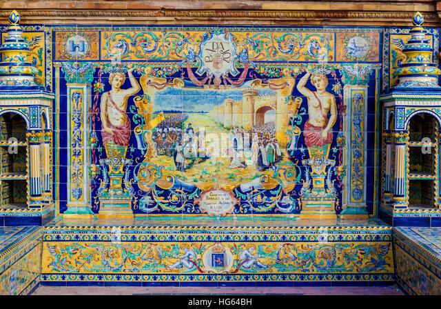 Glazed tiles wall of spanish province of Badajoz at Plaza de Espana, Seville, Spain - Stock Image