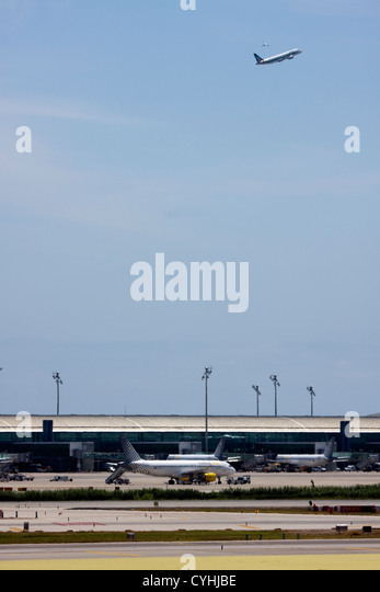 Passenger Airplanes at Barcelona El Prat Airport, Spain - Stock Image