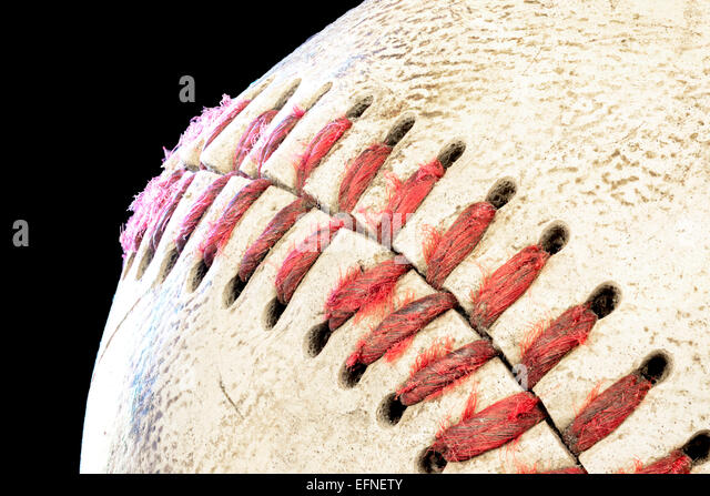 Close up macro of a vary used baseball - Stock-Bilder