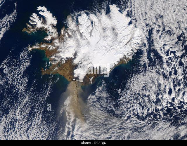 This NASA image shows the Icelandic volcano Eyjafallajökull on 17 April 2010. - Stock Image