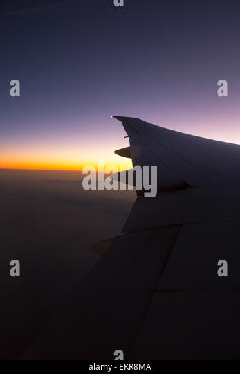 Dawn over Kenya from a plane. - Stock Image
