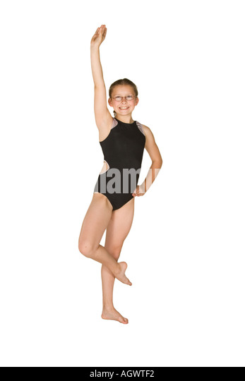 Model Release 285 10 year old caucasian girl in gymnastics poses - Stock Image