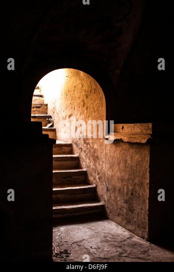 Stairs to the catacombs of Church of San José (Iglesia de San José). - Stock Image