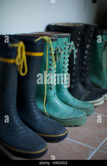 rubber boots on floor. lace, footwear, protective, wellies. - Stock-Bilder