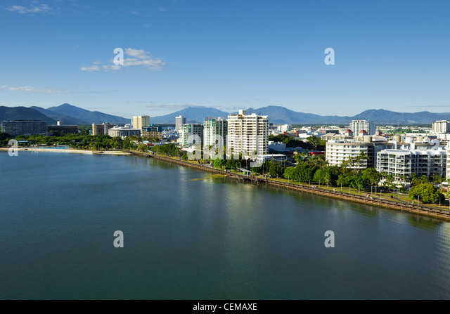 Aerial view along Esplanade to city centre. Cairns, Queensland, Australia - Stock Image