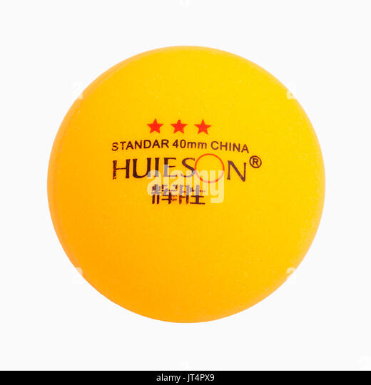 A 3 star table tennis ball on a white background - Stock Image