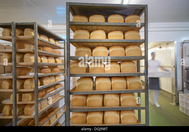 Trays of freshly baked bread in row - Stock Image