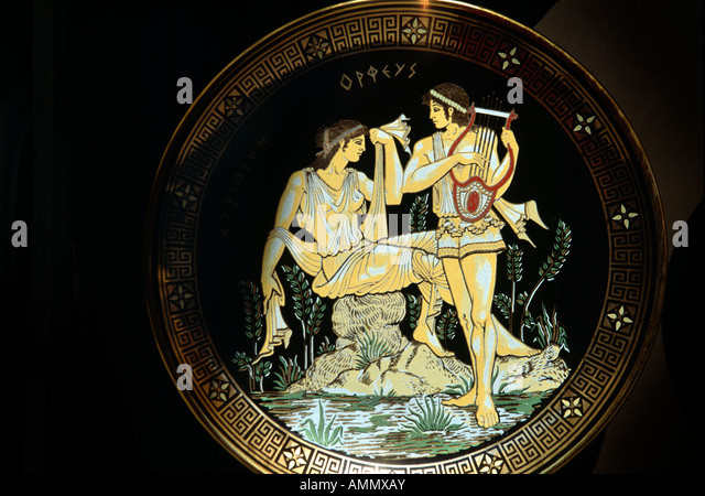 Rhodes Greece Myth On Plate Orpheus - Stock Image