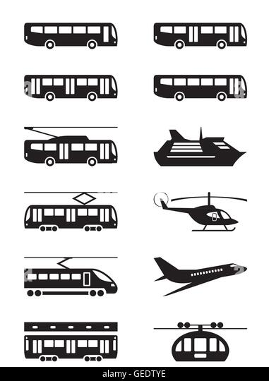 Passenger transportation vehicles - vector illustration - Stock Image