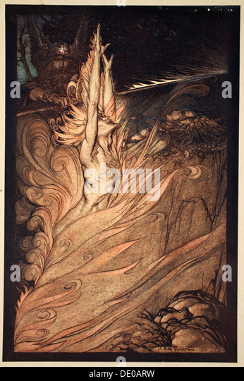 'Appear, flickering fire, Encircle the rock with thy flame! Loge! Loge! Appear!', 1910.  Artist: Arthur - Stock Image