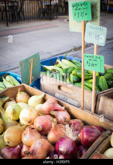Walla Walla sweet onions (left), shallots (center), and sweet red onions (right) for sale at the City Market in - Stock Image