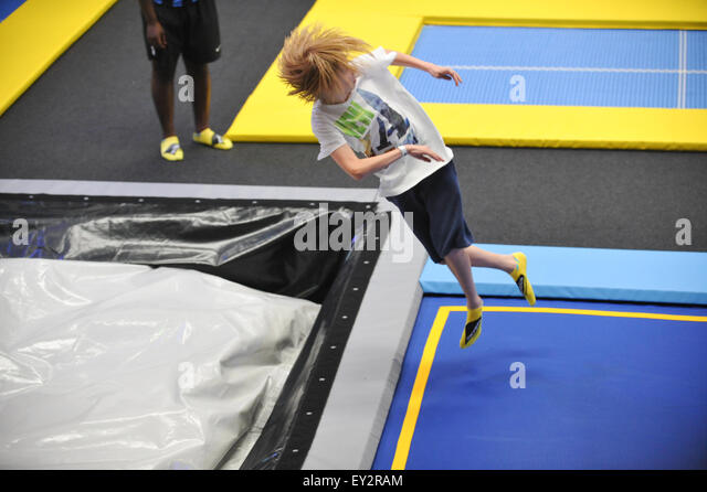 The first Oxygen Freejumping trampoline park opens in Acton, west London, with a variety of trampolines, activities - Stock-Bilder