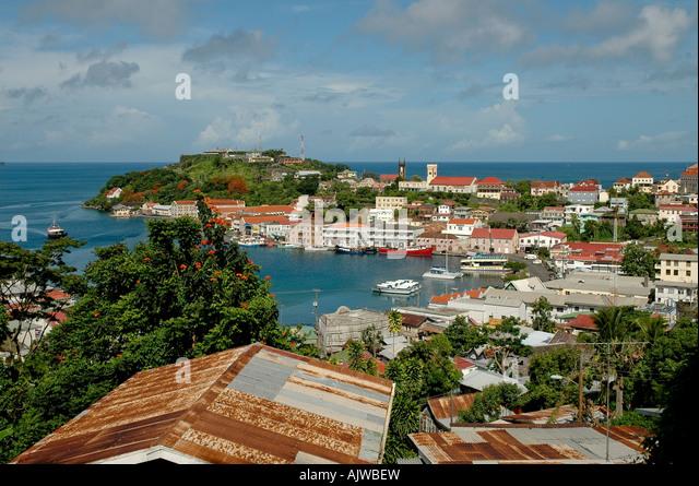 St George's grenada caribbean island skyline aerial overview scenic lanada endscape - Stock Image