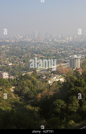 The smoggy Los Angeles skyline seen from the J. Paul Getty Museum in Los Angeles, CA. - Stock Image