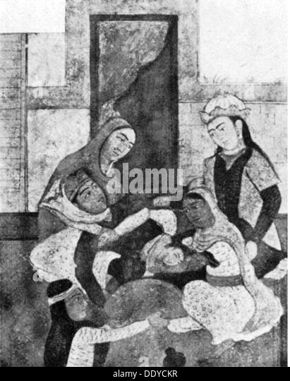 medicine birth / gynecology birth with four midwives drawing from an oevre by Ferdowsi (940 / 941 - 1020) Persia - Stock Image