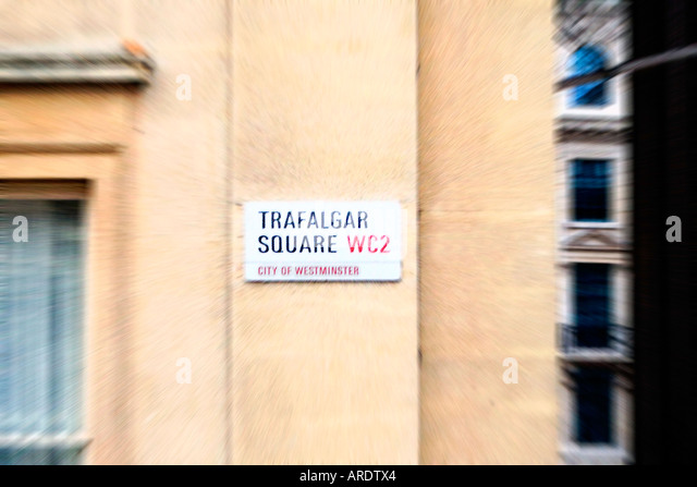 Trafalgar Square Sign London England - Stock Image