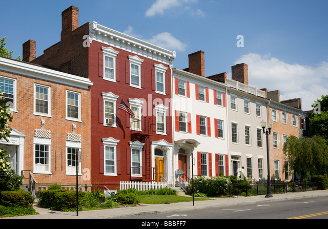 Federal style architecture in Geneva New York Ontario County Finger lakes Region - Stock Image