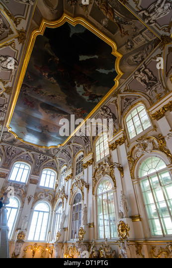 Jordan main staircase in the Hermitage (Winter Palace), UNESCO World Heritage Site, St. Petersburg, Russia, Europe - Stock Image