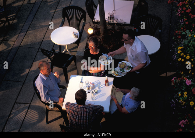Vancouver Canada Outdoor Dining Cafe - Stock Image