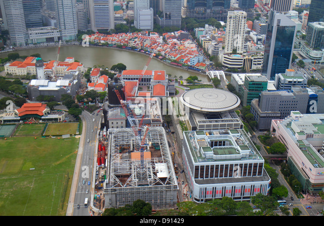 Singapore city skyline skyscrapers aerial Singapore River Boat Quay New Supreme Court Parliament House Treasury - Stock Image