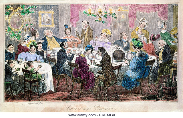 Victorian Christmas card, 'Christmas Dinner'. Courtesy of the V&A, London, UK. - Stock Image