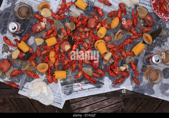 A Cajun style crawfish boil. - Stock Image
