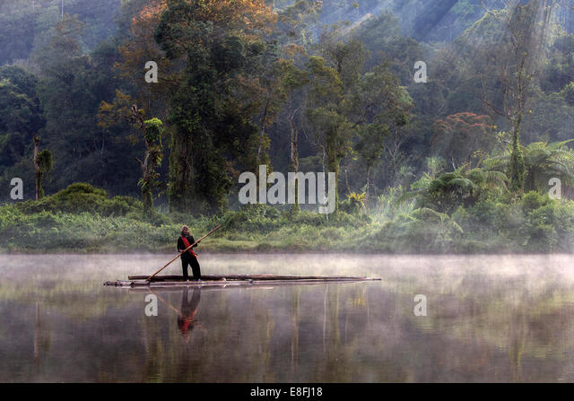 Indonesia, West Java, Karawang, Situ Gunung, Fishermen - Stock Image