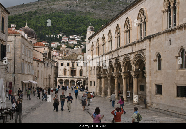 The Old City / Sponza Palace & Bell Tower, Dubrovnik - Stock Image